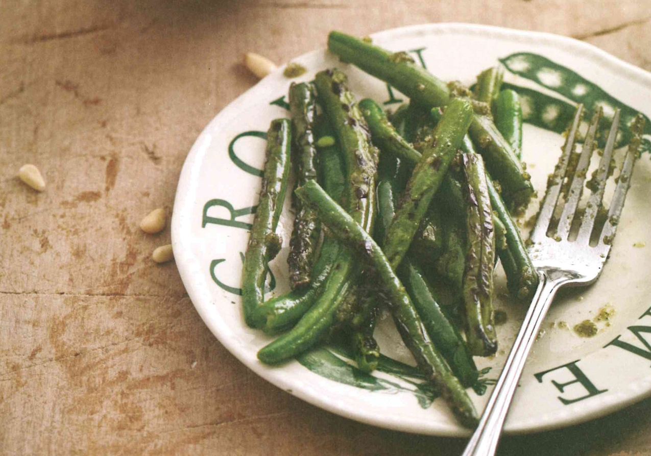 Charred Green Beans with Lemon Verbena Pesto