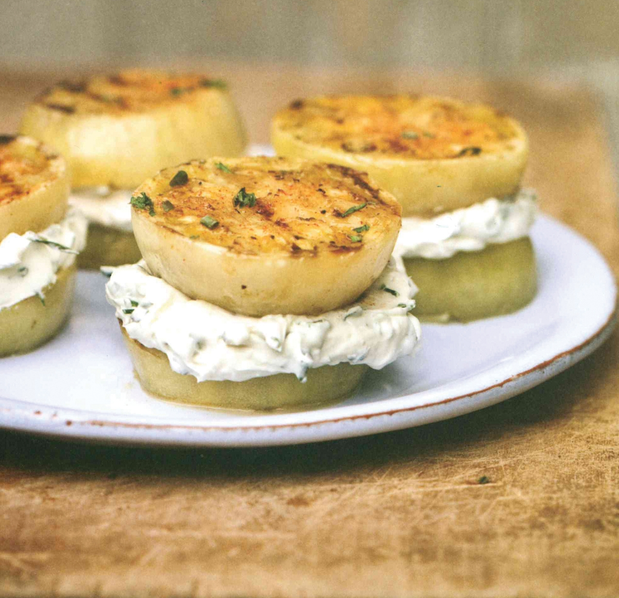 "Grilled Green Tomato ""Sandwiches"""