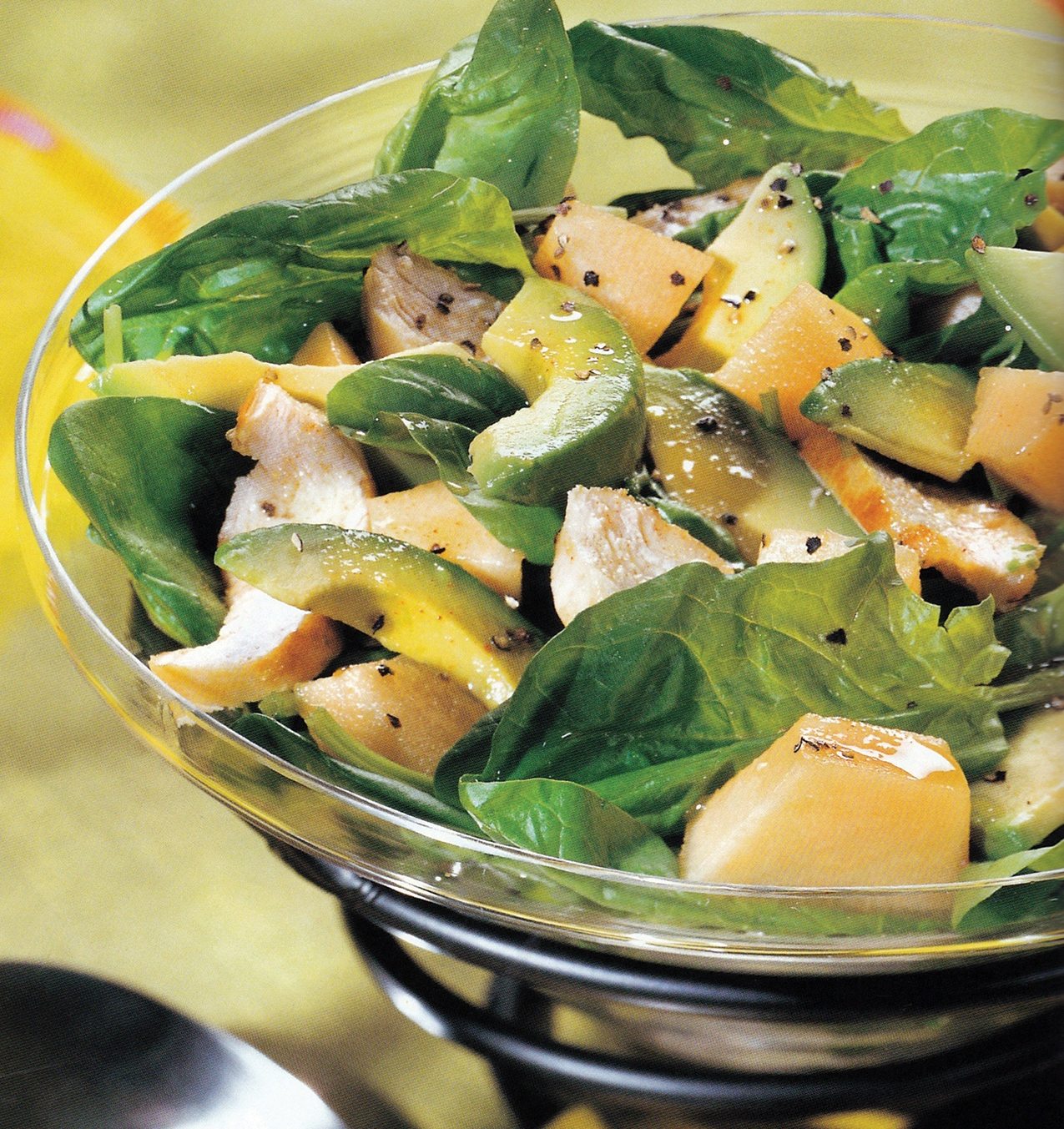 Chicken and Spinach Salad With Avocado and Fruit
