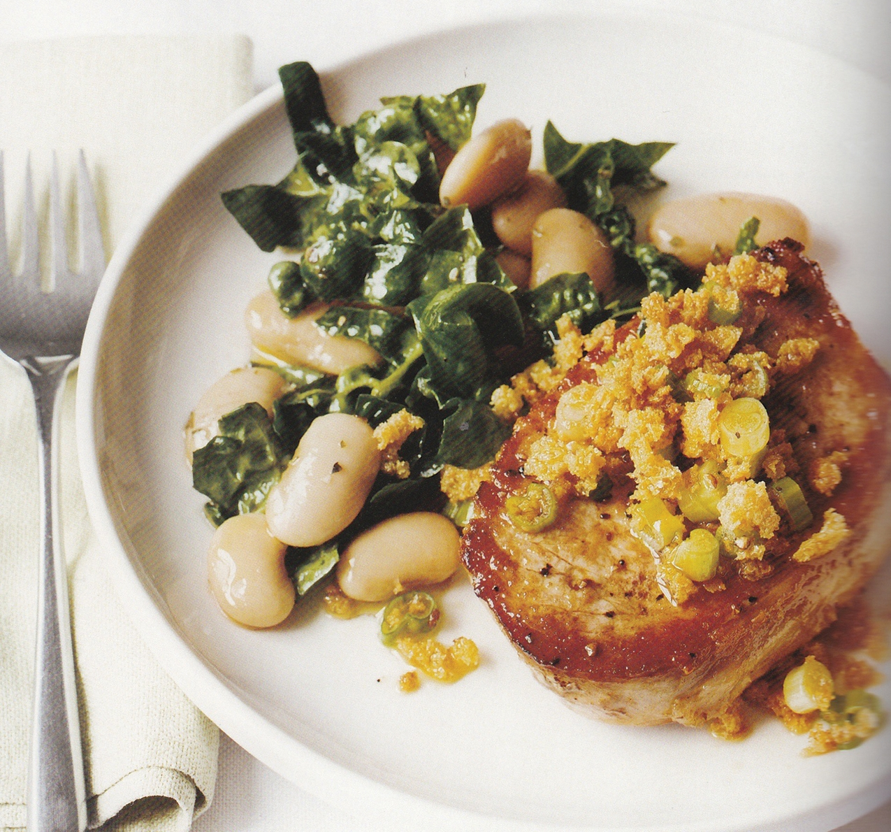 Pork Chops with Butter Bean Salad